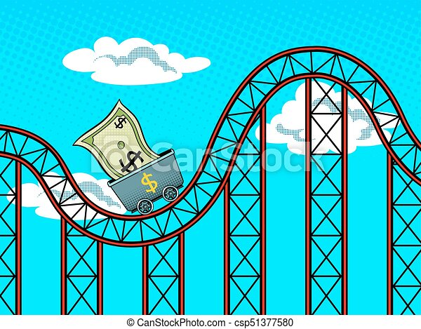 Dollar fluctuations pop art vector illustration - csp51377580