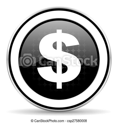 dollar icon, black chrome button, us dollar sign - csp27580008