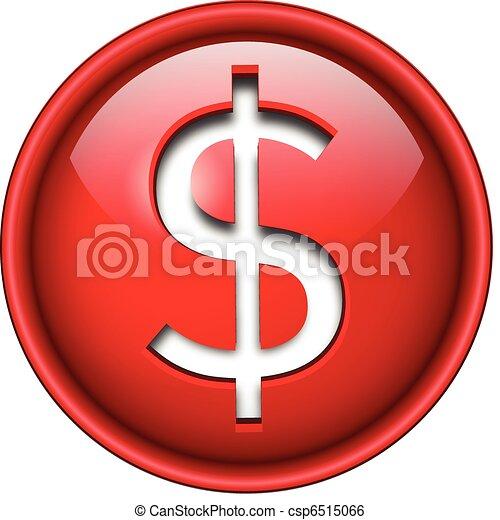 Dollar icon, button. - csp6515066