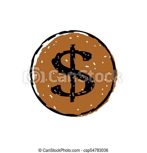 Dollar icon button - csp54783036