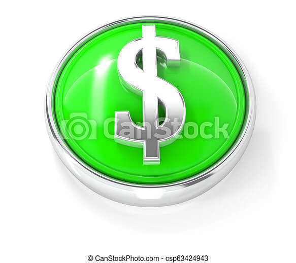 Dollar icon on glossy green round button - csp63424943