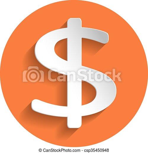 Dollar icon, paper style - csp35450948