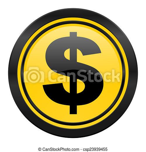 dollar icon, yellow logo, us dollar sign - csp23939455