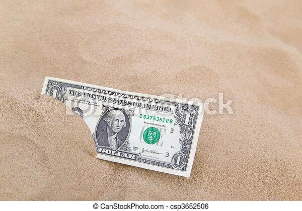 Dollar in the sand horizontal. - csp3652506