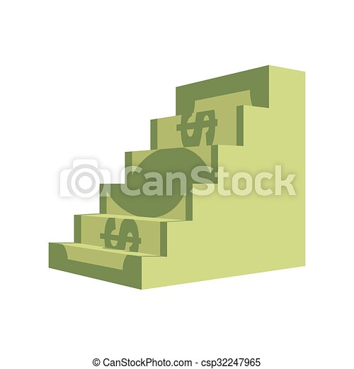 Dollar ladder. Steps out of  money. Ascent to wealth. Business illustration chart money income growth. - csp32247965