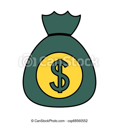 dollar money bag on white background - csp68560552