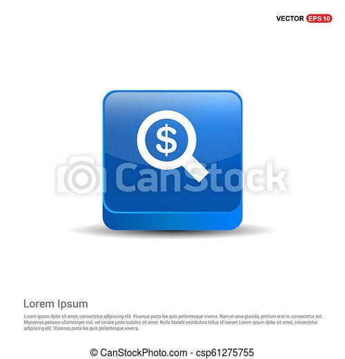 Dollar money icon - 3d Blue Button - csp61275755