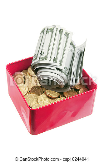 Dollar Notes and Coins in Box - csp10244041