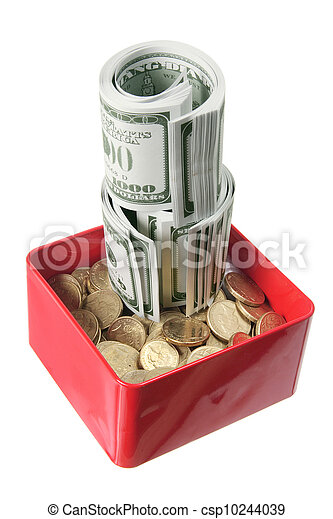 Dollar Notes and Coins in Box - csp10244039