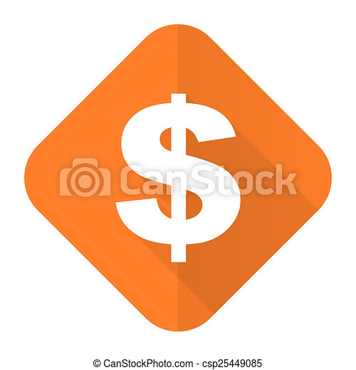 dollar orange flat icon us dollar sign - csp25449085