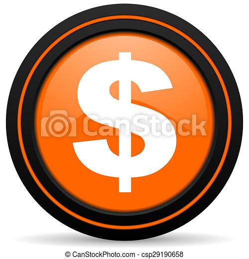 dollar orange icon us dollar sign - csp29190658