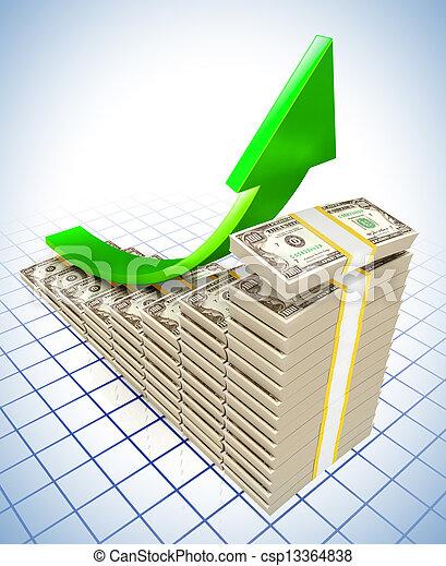 Dollar raising charts - csp13364838