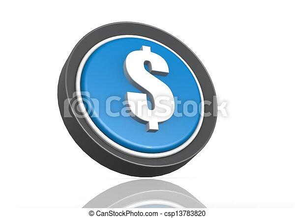 Dollar round icon in blue - csp13783820