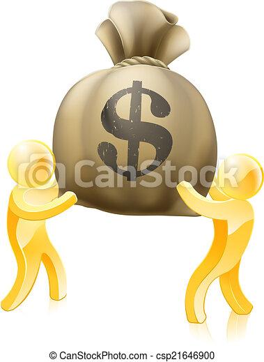 Dollar sack gold people - csp21646900