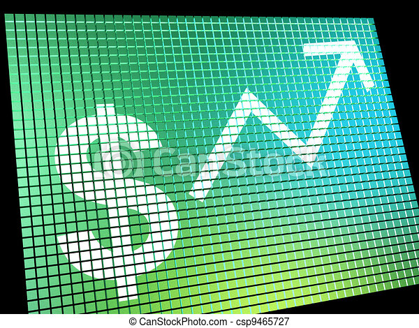 Dollar Sign And Up Arrow Monitor As Symbol For Earnings Or Profits - csp9465727