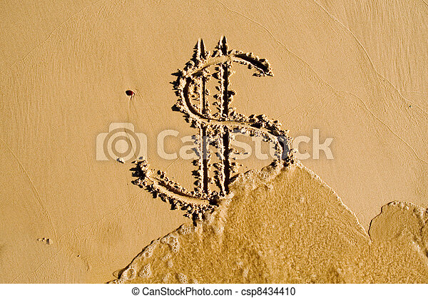 Dollar sign drawn in the sand - csp8434410