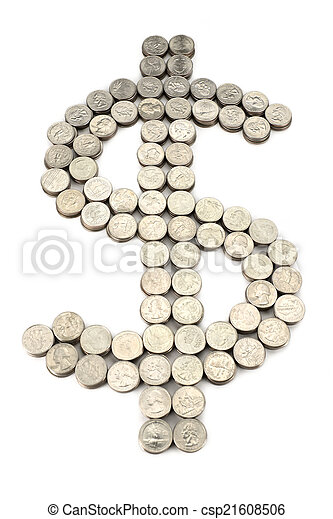 dollar sign from the coins - csp21608506