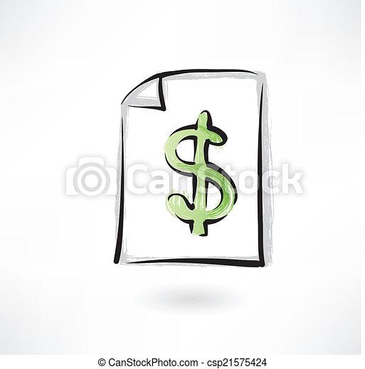 dollar sign grunge icon - csp21575424