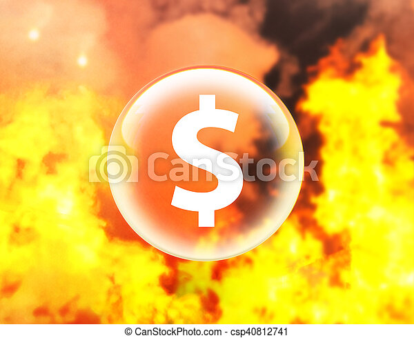 Dollar sign in crystal ball on fire - csp40812741