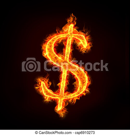 dollar sign in fire - csp6910273