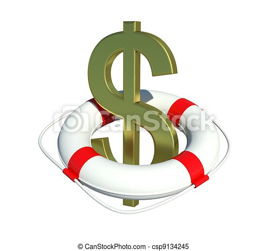 Dollar sign in lifebuoy. Isolated on white background - csp9134245