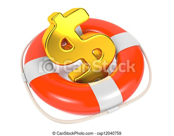 Dollar Sign in Red Lifebuoy. Isolated on White. - csp12040759