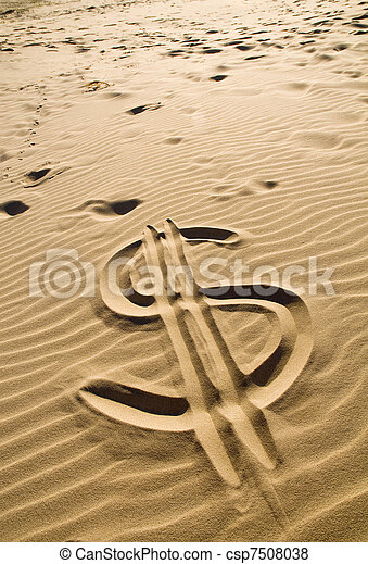 Dollar sign in the sand - csp7508038