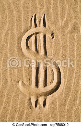 Dollar sign in the sand - csp7508012