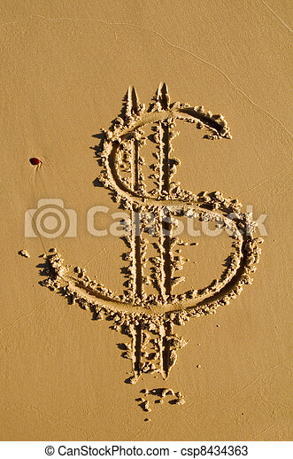 Dollar sign in the sand - csp8434363