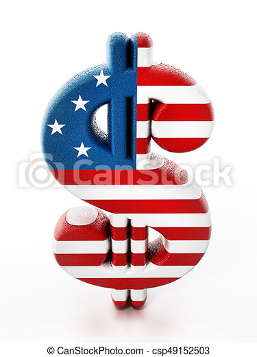 Dollar sign mapped with American flag texture. 3D illustration - csp49152503