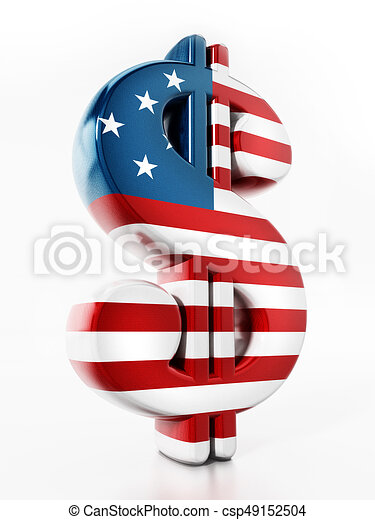 Dollar sign mapped with American flag texture. 3D illustration - csp49152504