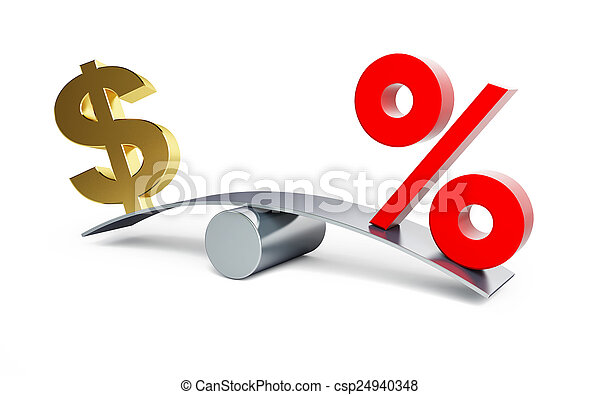 dollar sign on a swing with a percent sign on a white background - csp24940348