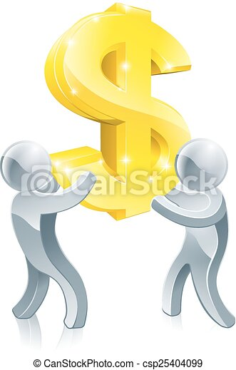 Dollar sign people - csp25404099