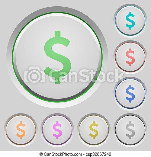 Dollar sign push buttons - csp32867242