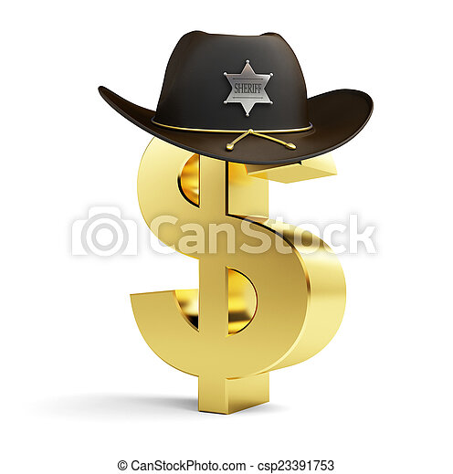6635e292 dollar sign sheriff hat on a white background. dollar sign sheriff ...