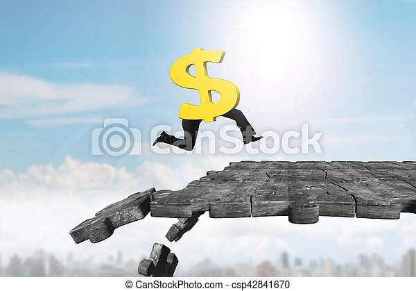 Dollar sign with human legs running on breaking puzzle ground - csp42841670