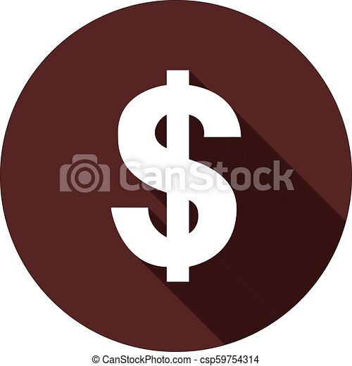 Dollar sign with shadow on a circle of dark red, vector - csp59754314