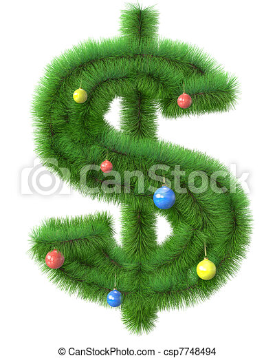 Dollar symbol made of christmas tree branches isolated on ...