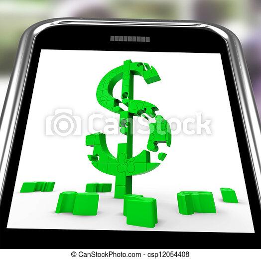 Dollar Symbol On Smartphone Showing American Bucks - csp12054408