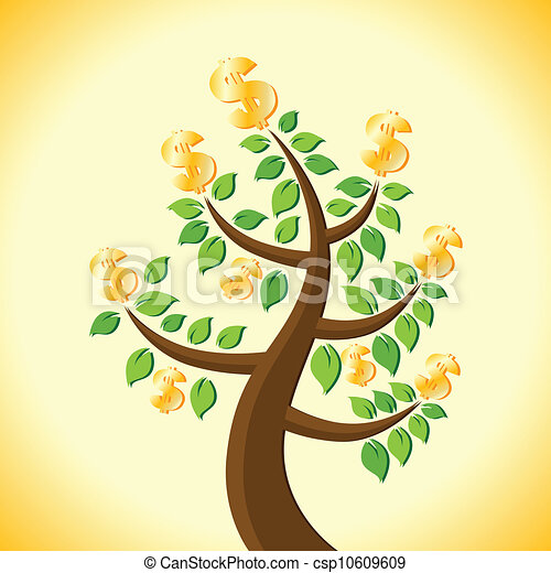 dollar tree mature tree with its harvest of golden dollars vector rh canstockphoto com Dollar Tree MVP Dollar Clip Art