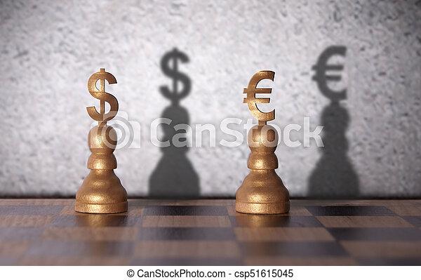 Dollar versus euro concept - csp51615045