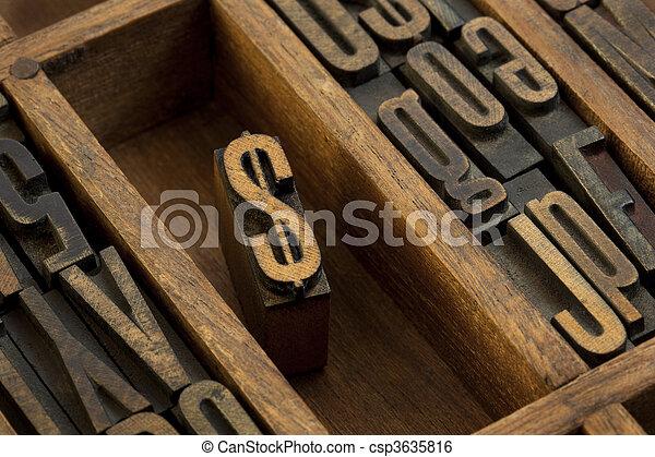 dollar - vintage letterpress wooden type - csp3635816