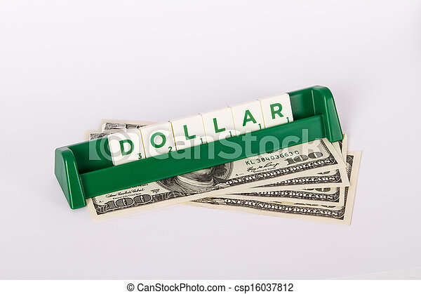 Dollar Word and Hundred Dollar Bills - csp16037812