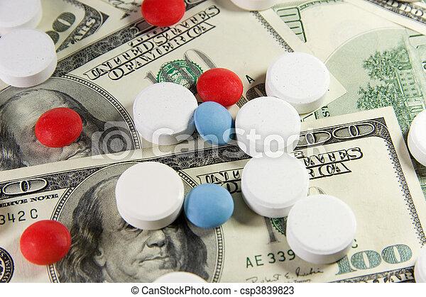 dollare, pillerne, os, bundtet - csp3839823
