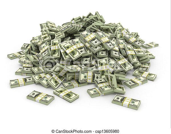 dollari., mucchio, soldi, pacchi - csp13605980