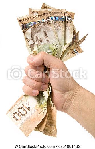 dollari, pieno, mano, canadese - csp1081432