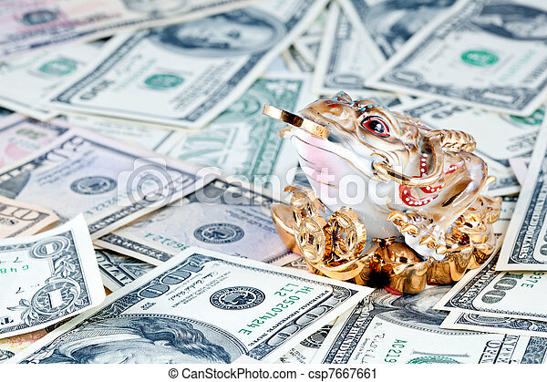 Dollars. 3 Legged Toad against money - csp7667661