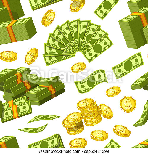 Dollars and cents money and golden cents coins icons seamless pattern