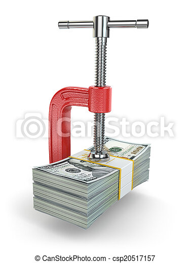 dollars., concept, costs., étau, crisis., réduire - csp20517157