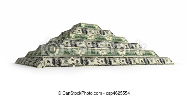 Dollar's financial pyramid, 3d render isolated on white with depth of field - csp4625554